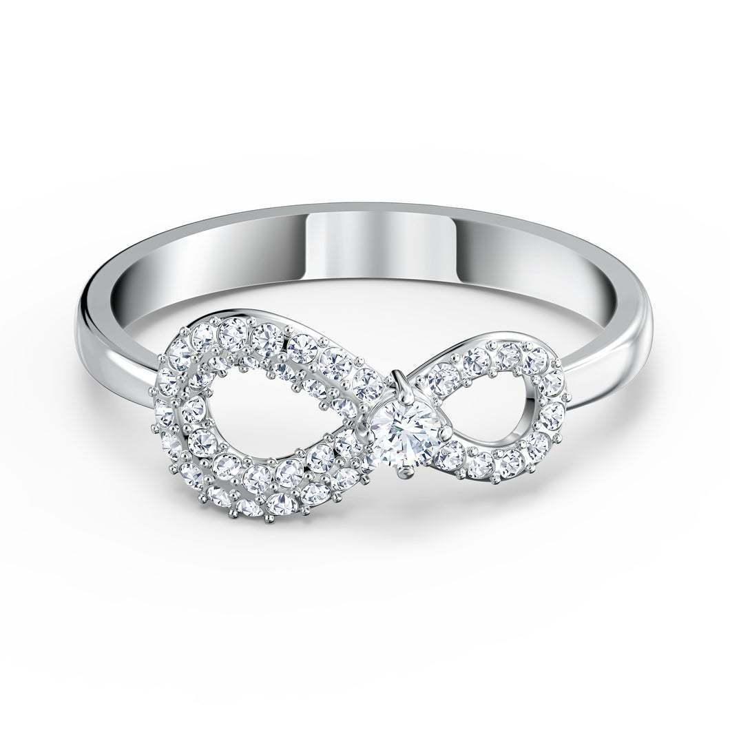 Swarovski Infinity Ring, Rhodium Plated