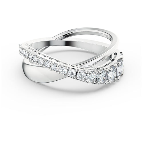 Swarovski Twist Rows Ring, Rhodium Plated