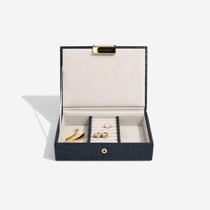 Stackers Navy Croc Mini Jewellery Box - Free Delivery