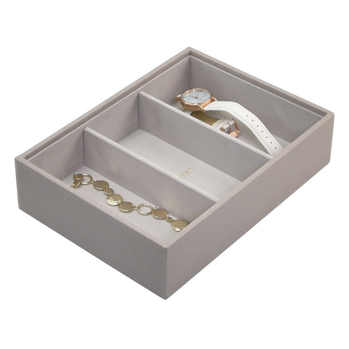 Stackers Taupe 3 Section Deep Compartment Tray