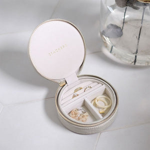 Stackers Mock Croc Round Putty Travel Jewellery Box