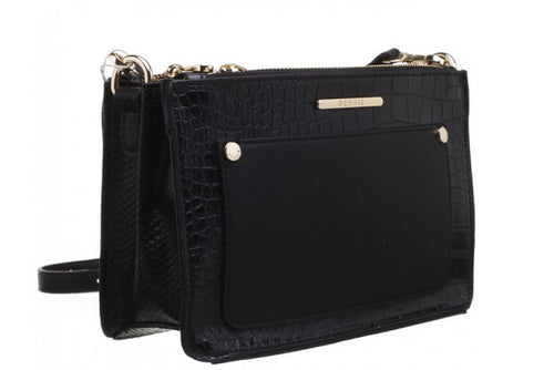 Bessie Cross Body Black Croc & Suedette Handbag