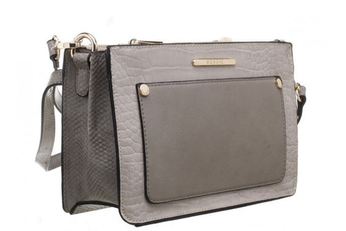 Bessie Cross Body Grey Croc & Suedette Handbag