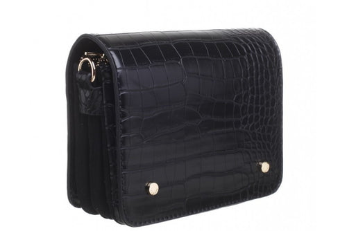 Bessie Cross Body Black Croc Handbag
