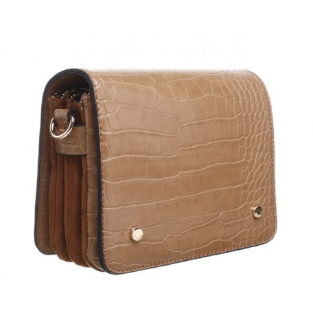 Bessie Cross Body Tan Croc Handbag