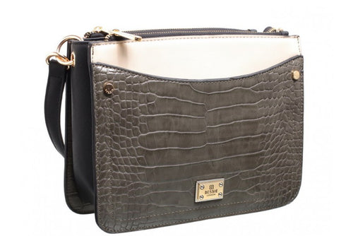 Bessie Cross Body Croc Mix Grey Handbag