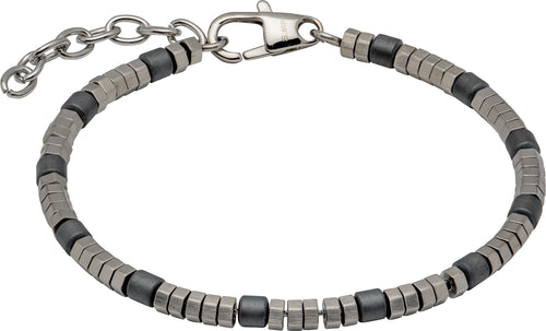 Unique Stainless Steel Bracelet with Grey Hematite