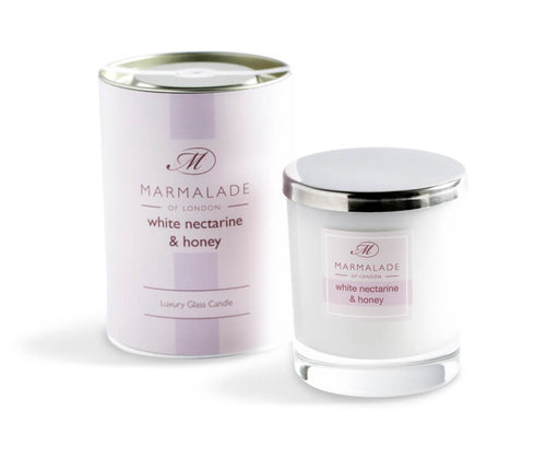 Marmalade Of London White Nectarine And Honey Luxury Glass Candle