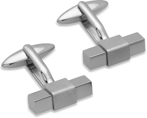 Unique Plain Stainless Steel Block Cufflinks