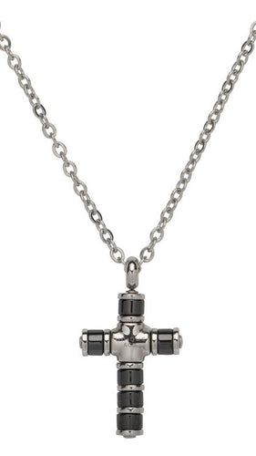 Unique Black IP Plated Cross Pendant