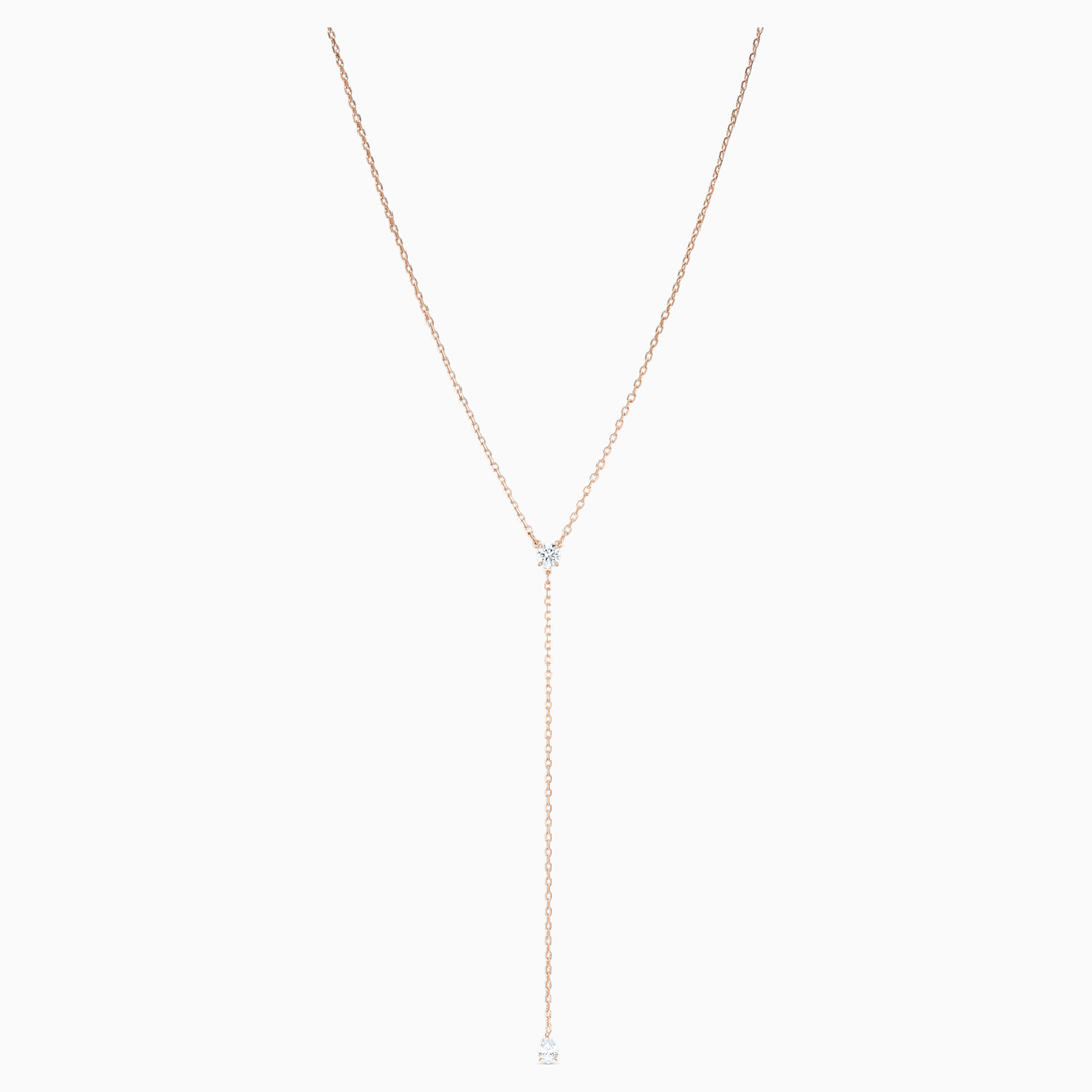 Swarovski Attract Soul Y Necklace, White, Rose-gold Tone Plated