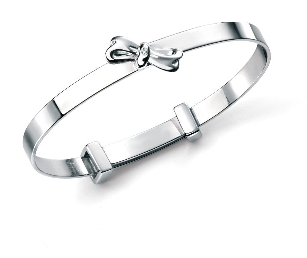D for Diamond Baby Bow Bangle