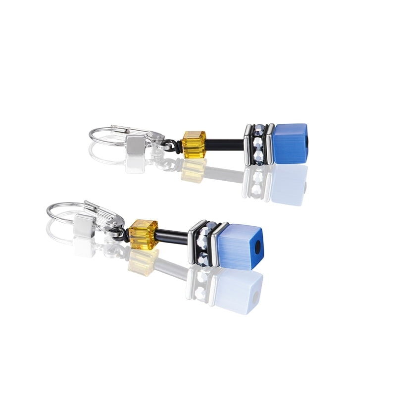 Coeur De Lion GeoCUBE Earrings Blue-Yellow