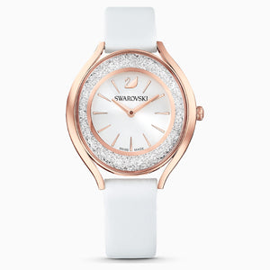 Swarovski Crystalline Aura Watch, Leather strap, White, Rose-gold tone PVD
