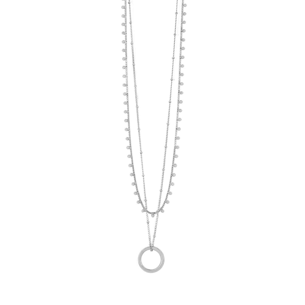 Dansk Smykkekunst Indian Circle Necklace Rhodium
