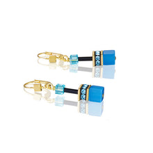 Load image into Gallery viewer, Coeur De Lion GeoCUBE Earrings Multicolour Rainbow-Gold