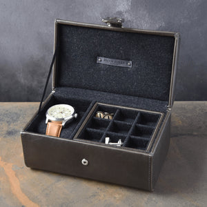 Jacob Jones Watch And Cufflink Box Grey