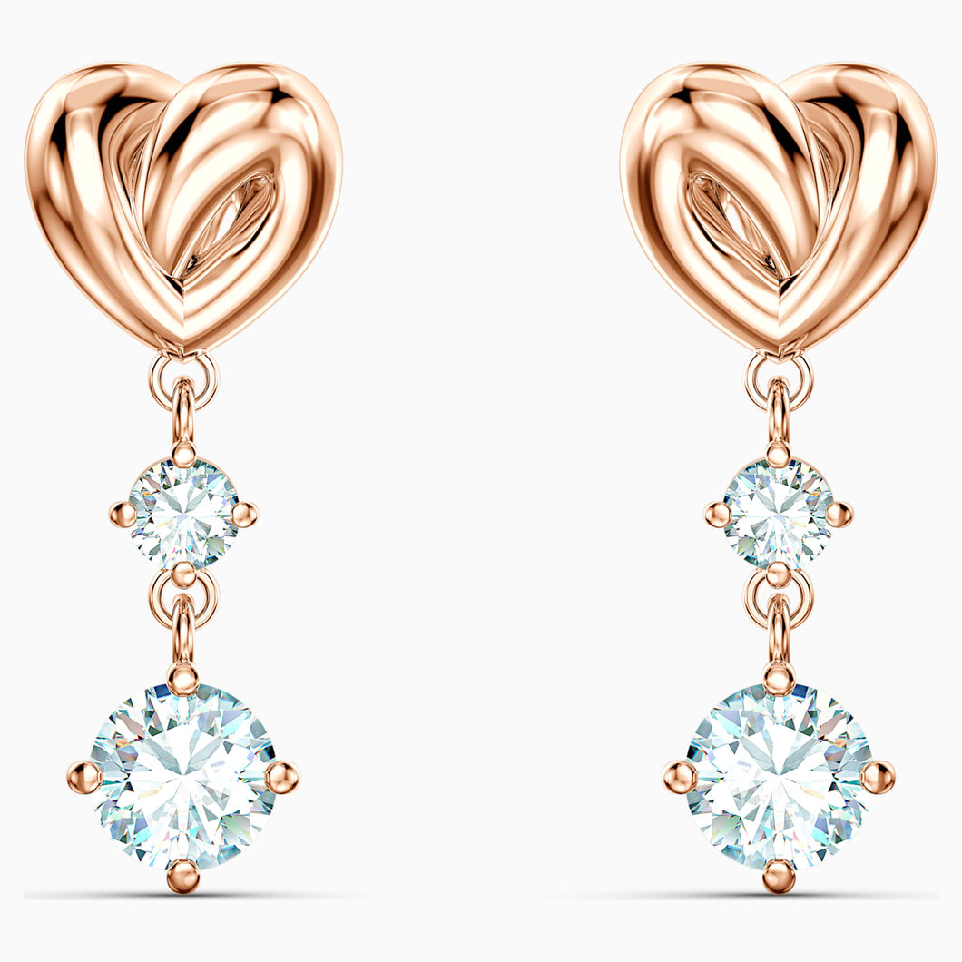Swarovski Lifelong Heart Drop Earrings Rose Gold Tone