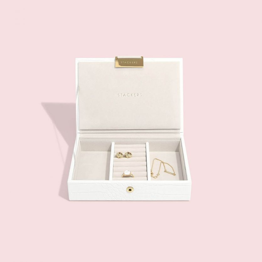 Stackers Chalk White Croc Mini Jewellery Box Lid