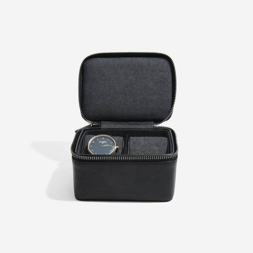 Stackers Mens Zipped Double Watch Box Black