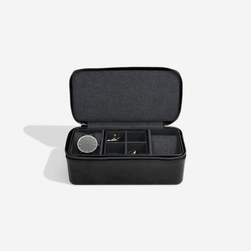 Stackers Mens Black Zipped Watch & Cufflink Box