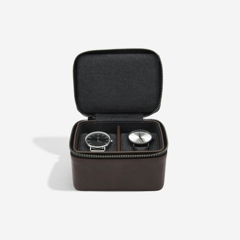 Stackers Mens Zipped Double Watch Box Brown