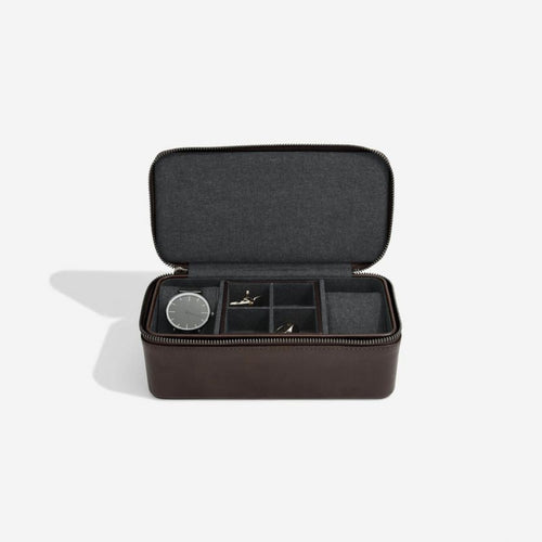 Stackers Mens Brown Zipped Watch & Cufflink Box