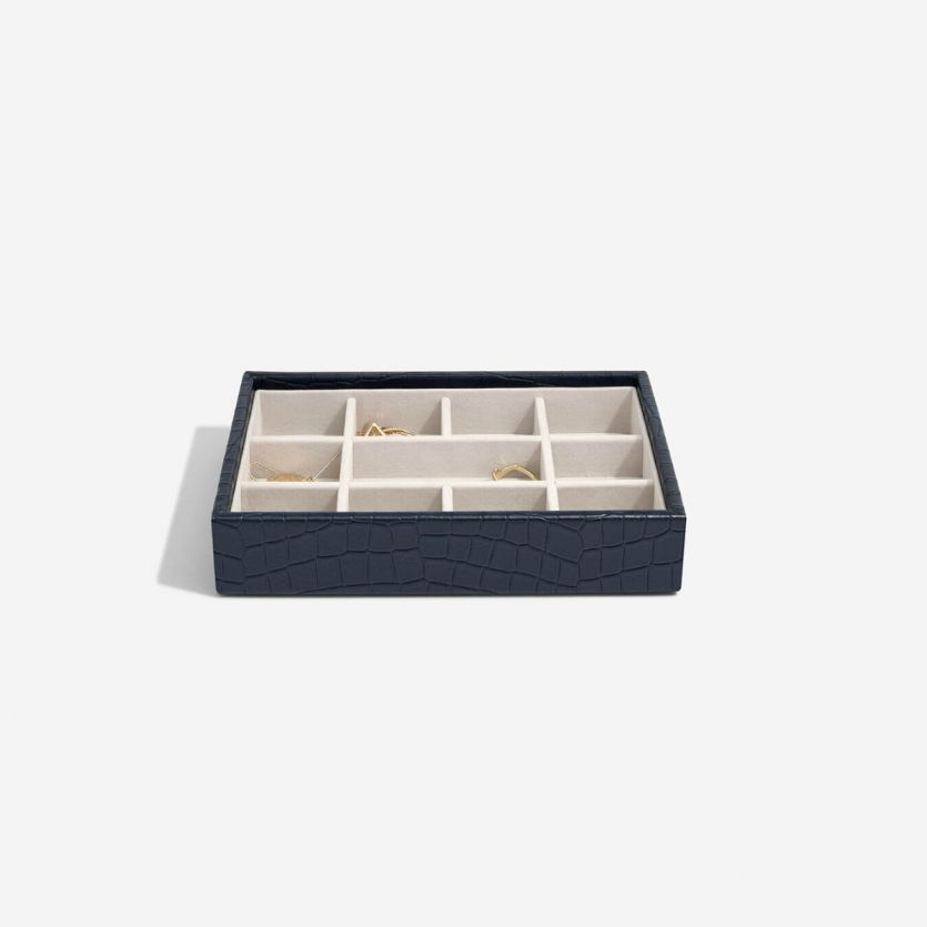 Stackers Navy Croc Mini 11 Section Jewellery Tray
