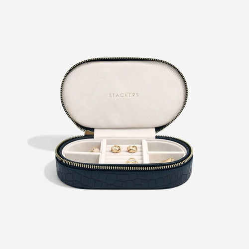 Stackers Mock Croc Oval Navy Travel Box