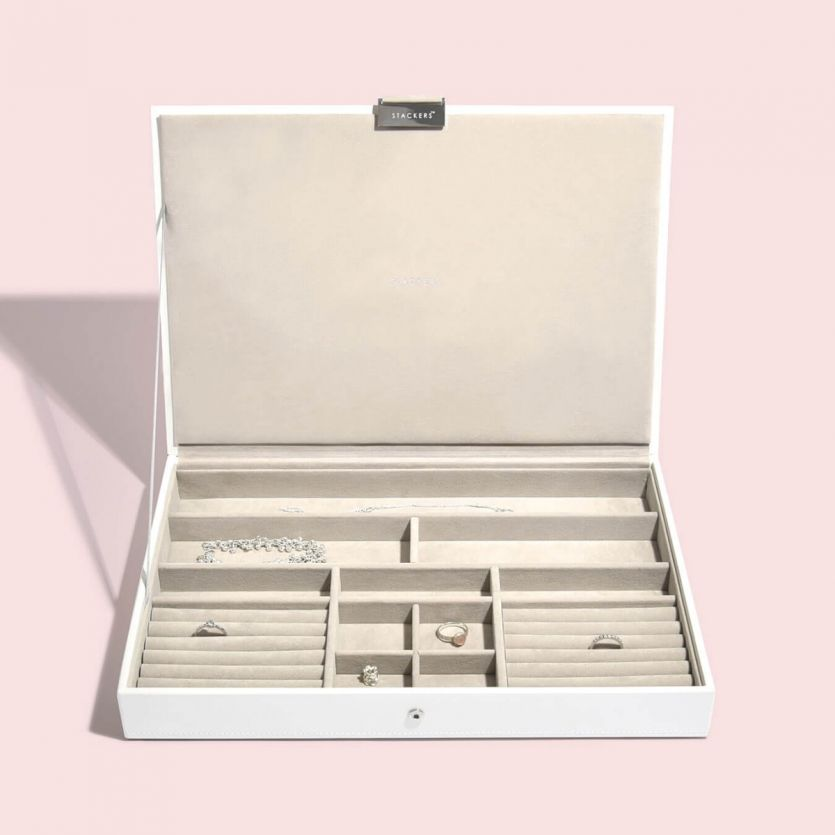 Super Size White Lidded Stacker Jewellery Tray