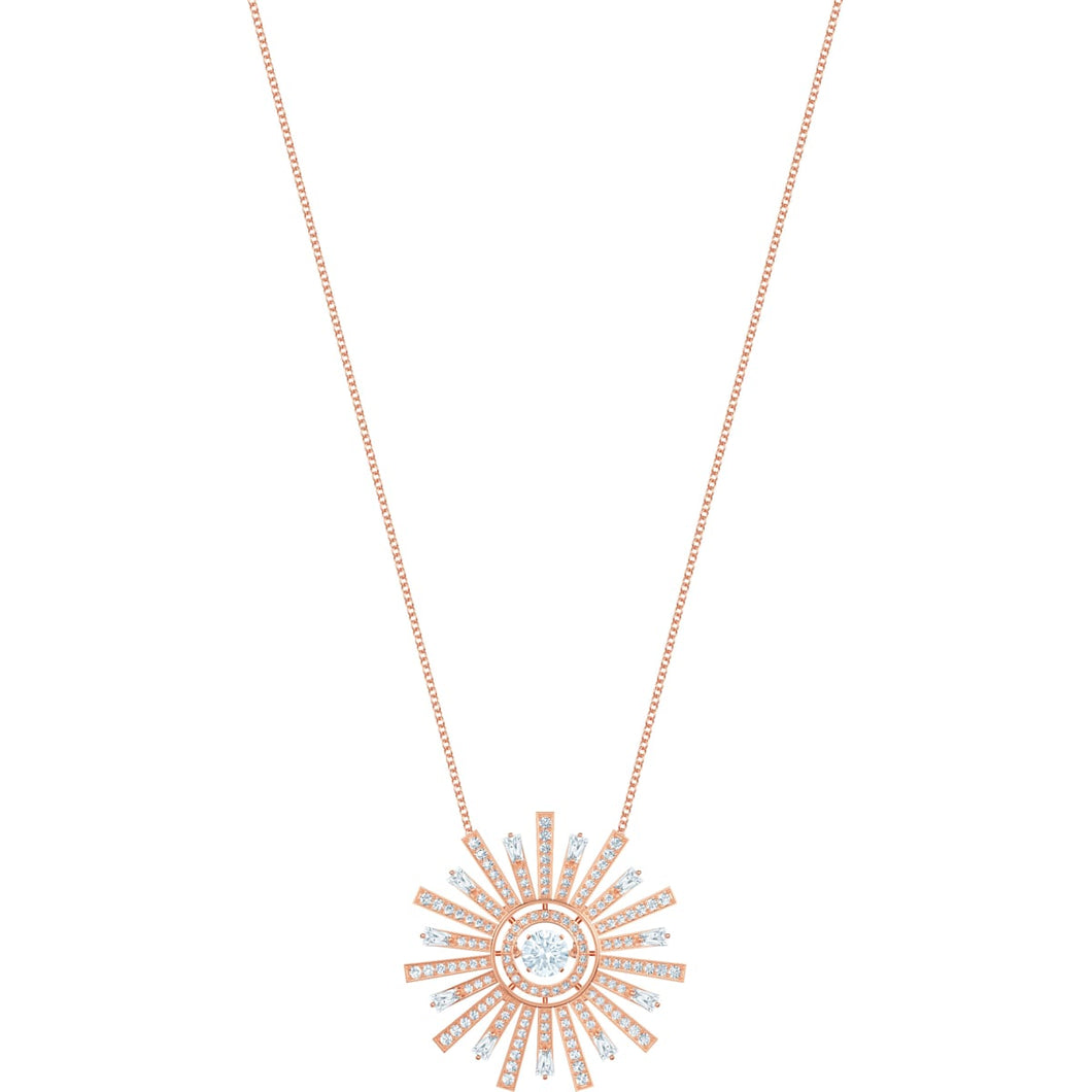 Swarovski Sunshine Large Necklace, White, Rose gold plating