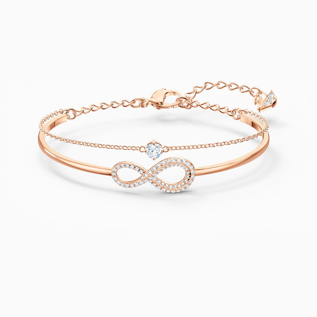 Swarovski Infinity Bangle, White, Rose Gold Tone