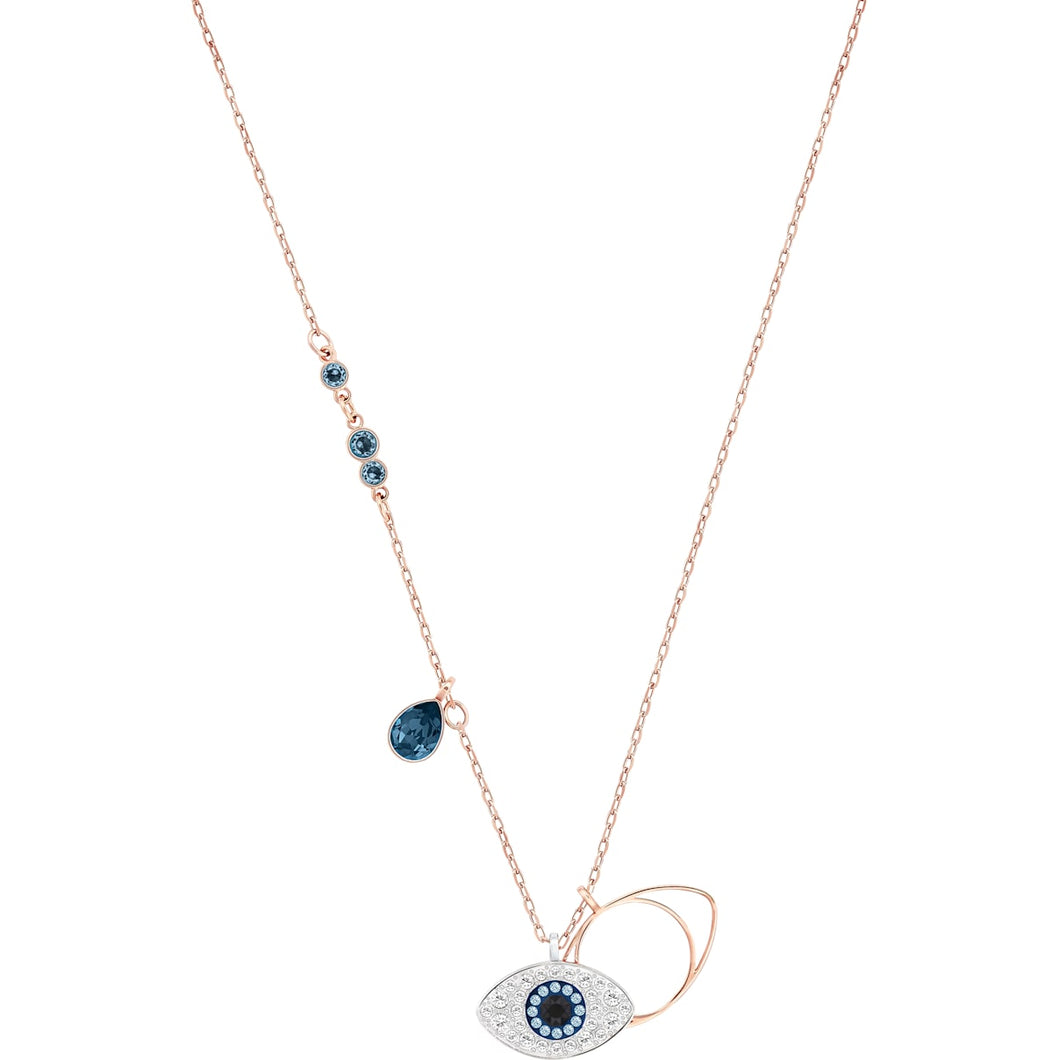 Swarovski Symbolic Evil Eye Pendant, Blue, Rose Gold-tone Plated