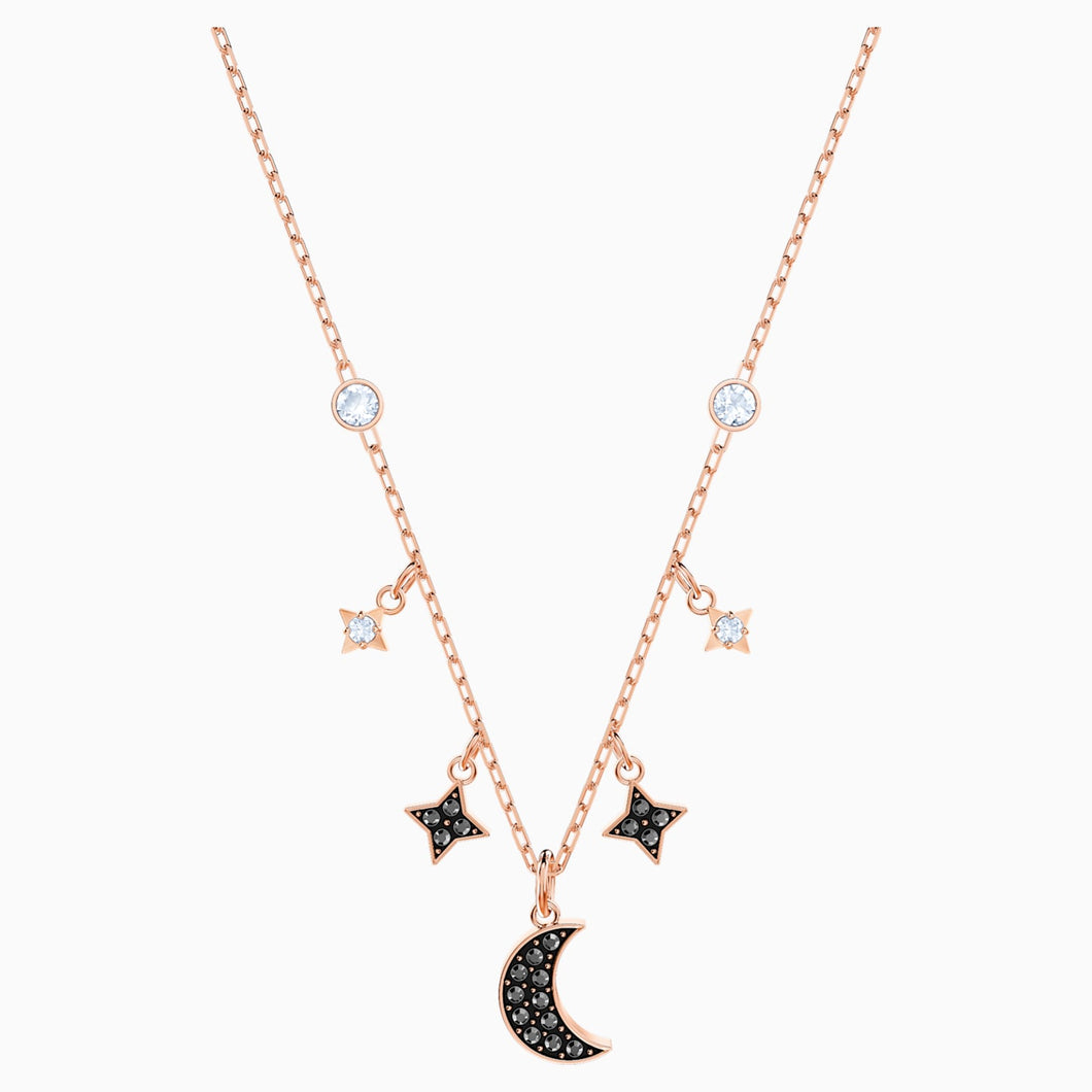 Swarovski Symbol Moon Necklace, Jet, Rose Gold-tone Plated
