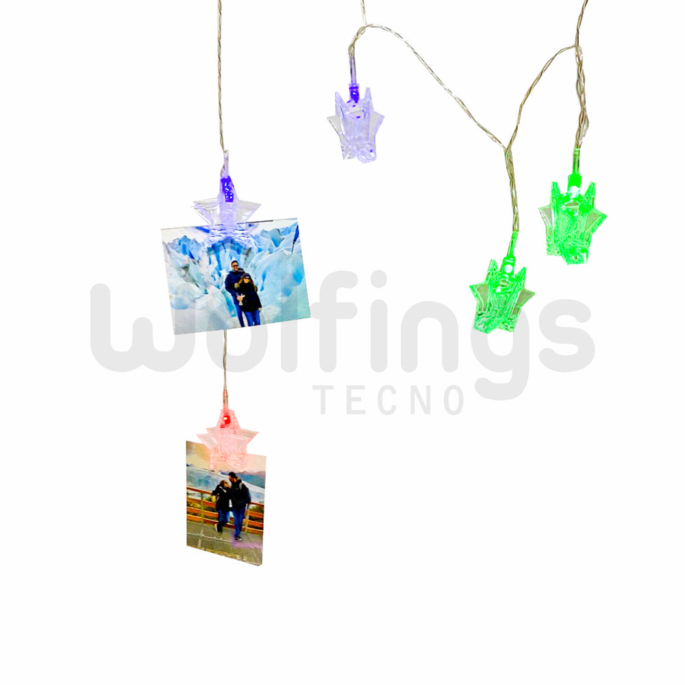 TIRA LED 2 METROS 10 BROCHES ESTRELLA x10 LUCES MULTICOLOR A PILA [Cod. LUL-035]