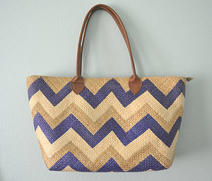 Linda Tote with Long Tube Handles (Natural with Blue Chevron)