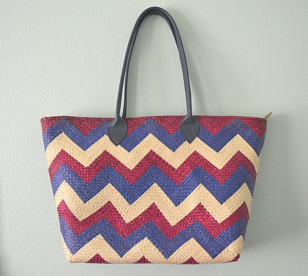 Linda Tote with Long Handles (Purple with Blue Chevron)