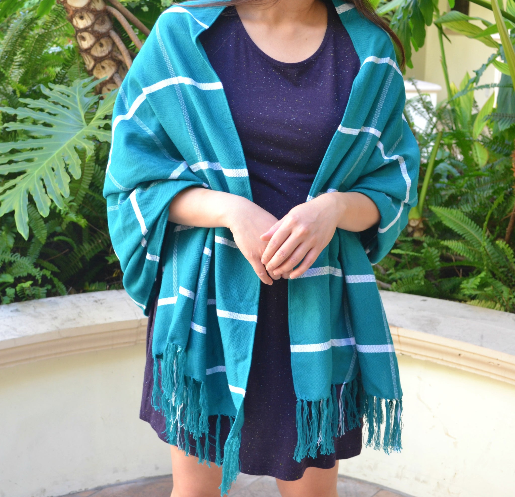 Handwoven Shawl (Teal with White Stripes)
