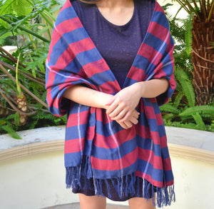 Handwoven Shawl (Red and Blue Stripes)