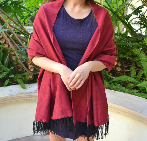 Handwoven Shawl (Red)