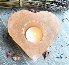 Load image into Gallery viewer, Salt lamp candle holder heart shape 4 candle holders