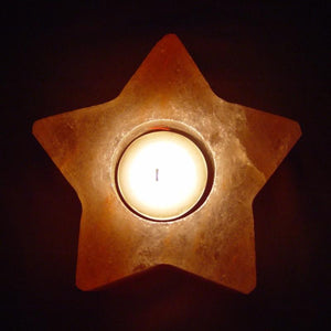 Himalayan salt 2 pack candle holder star shape