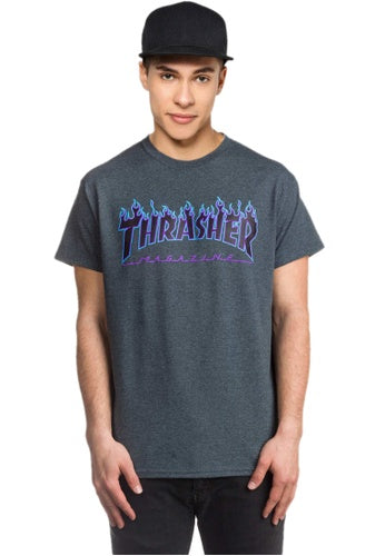 Thrasher Flame Logo Tee - Dark Heather