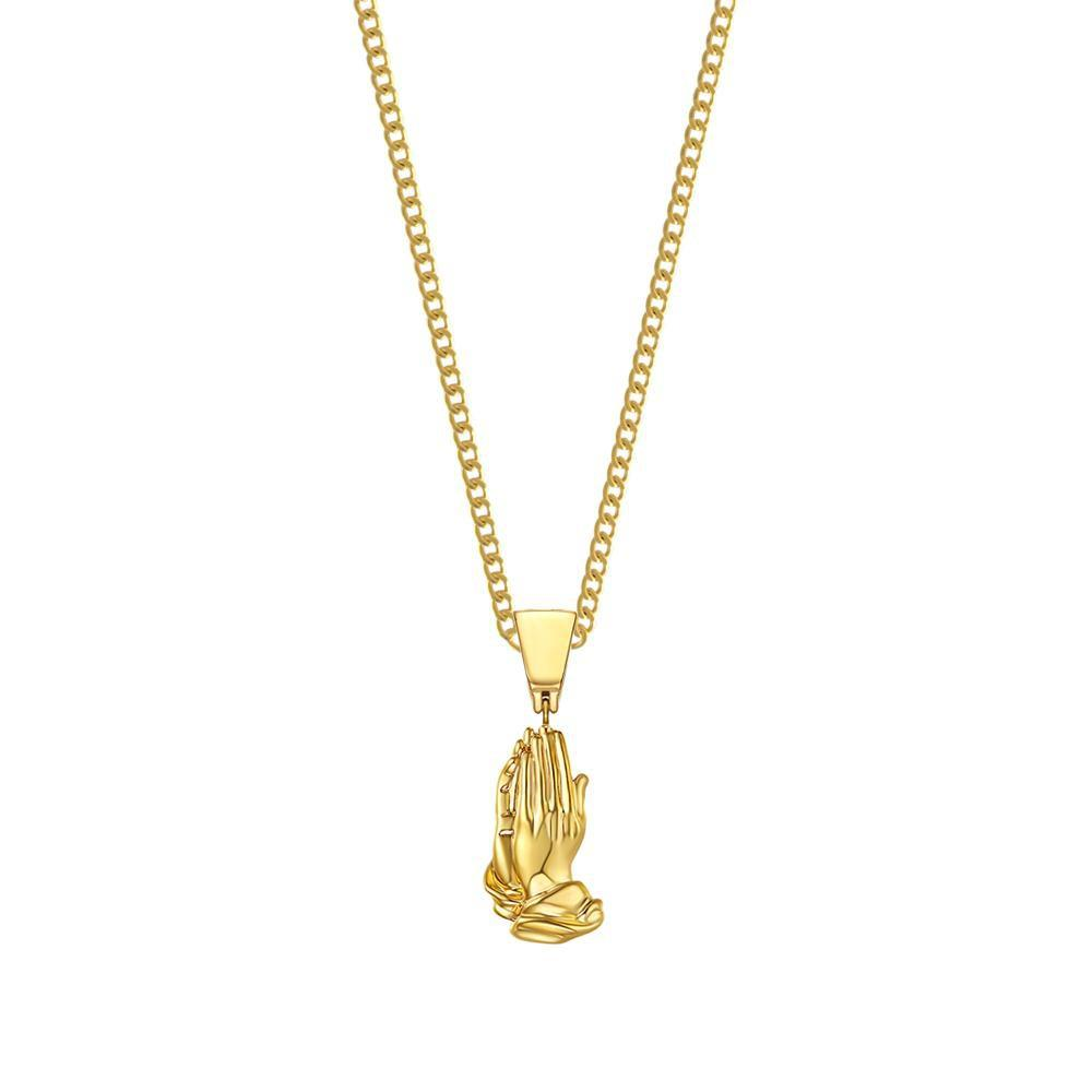 Mister Pray Hands Necklace Gold - 24""