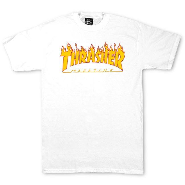 Thrasher Flame Logo Tee - White