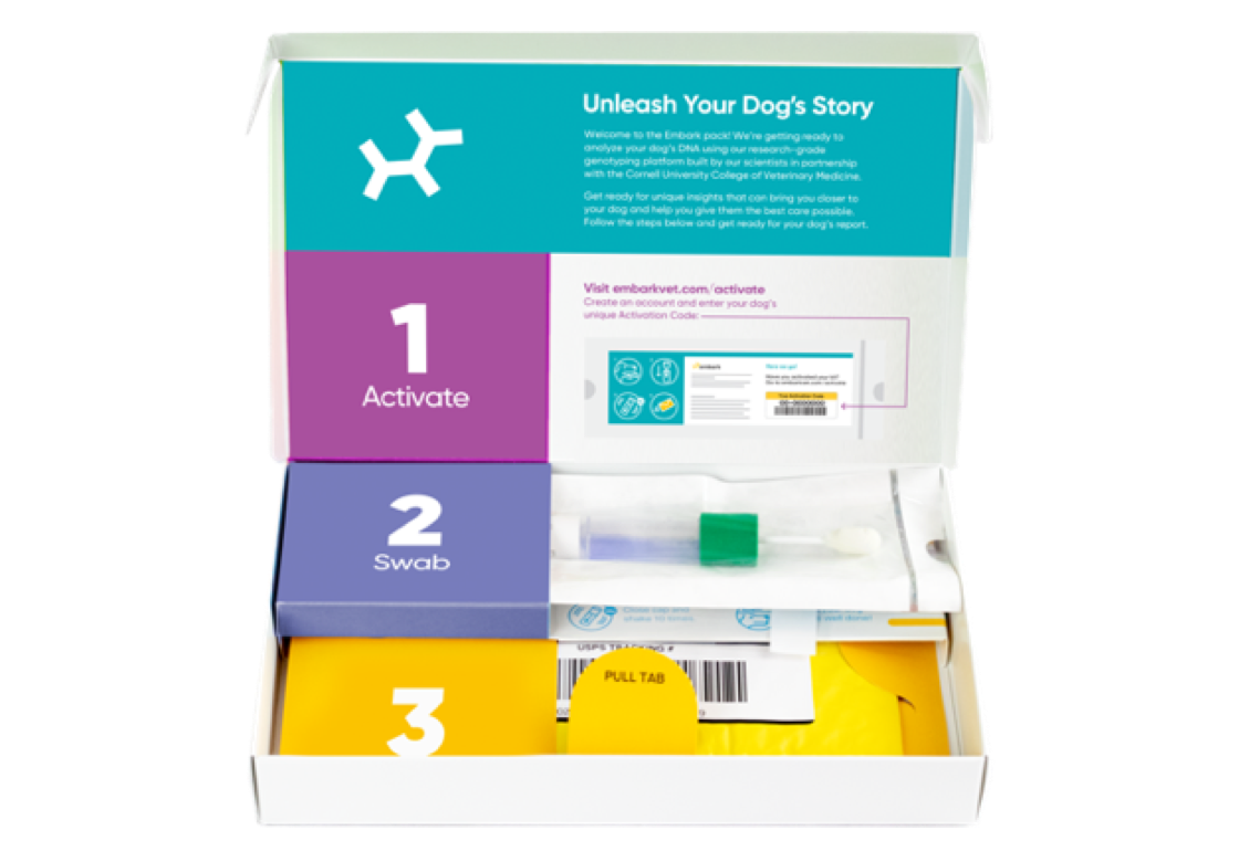 Open Embark Dog DNA Test Kit Showing A Swab & Activation Instructions