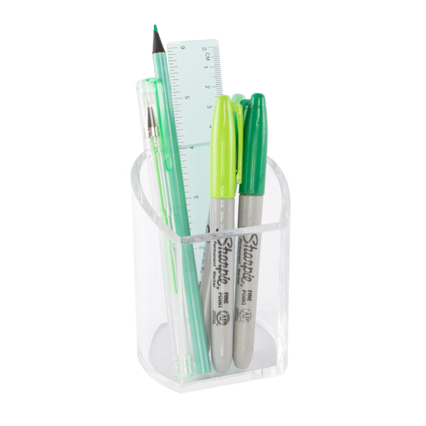 Curved Clear Acrylic Pen Pot