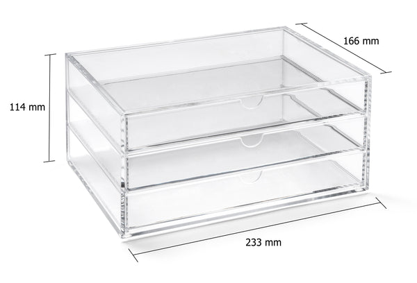 acrylic makeup storage 3 drawer