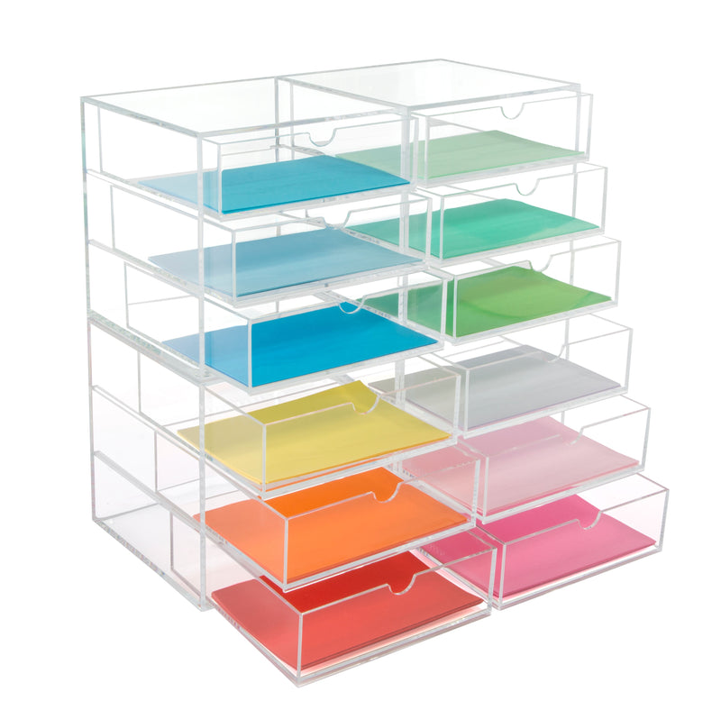 Osco 3 Tier Tall Acrylic Stackable Organisers Makeup Stationary