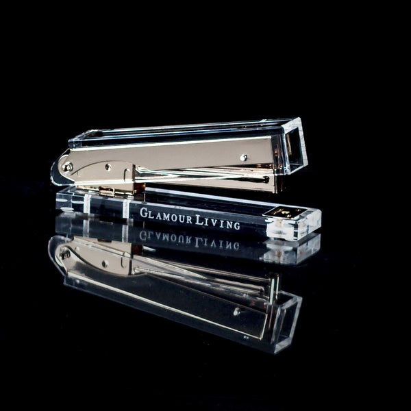 Acrylic And Gold Metal Stapler With Glamourliving Logo